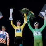 Froome (galben),   alături de Quintana și Sagan,   laureații Turului Franței/ Foto: AP