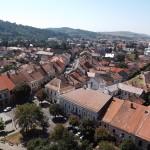 Panoramă din Turnul Bisericii Evanghelice a orașului Bistrița,   proiectat de sași după modelul burgurilor germane