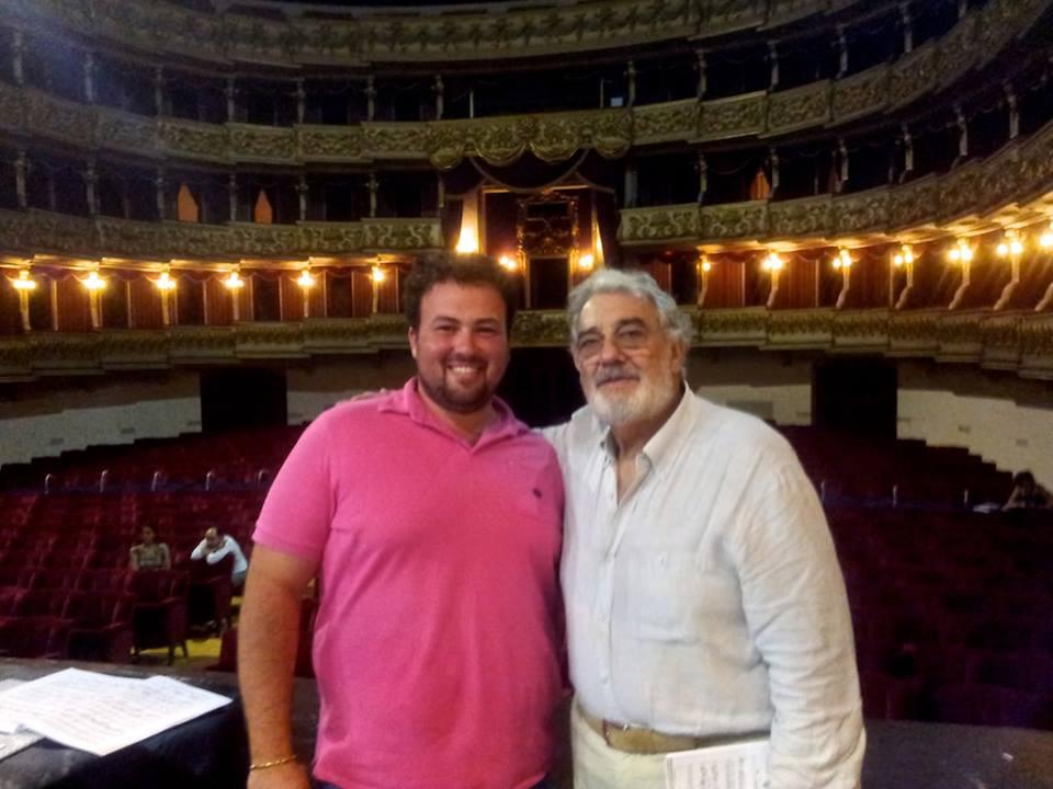 Ştefan Pop şi Placido Domingo, în timpul repetiţiilor în data de 17 august/ Foto: arhiva personală