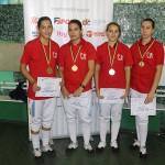 CSA Steaua 1,  medalie de aur la C.N de floretă junioare ( foto: de la dreapta la stânga Mălina Boldor,   Laura Vârgă,   Maria Boldor,   Ana Boldor). Foto: Nicu Ghișan