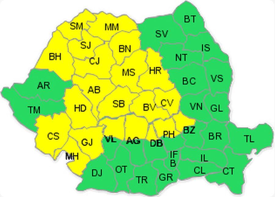 Harta cu județele aflate sub cod galben,   potrivit ANM