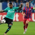 Boateng (foto,   cu numarul 9),   a fost principalul pericol pentru poarta Selei,   la debutul campioanei Romaniei in Champions League