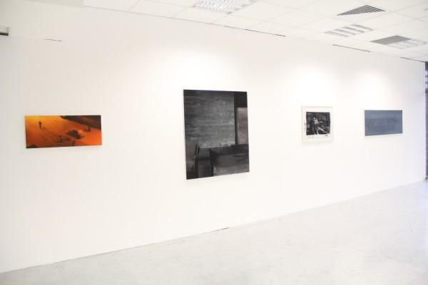 Patru dintre lucrările artistului Adrian Ghenie,   aparținând colecției Mircea Pinte: Streetview at night (2005),   Basement Feeling (2007),   Flight into Egypt (2008),   Stalin's Tomb (2006)/Foto: Dan Bodea