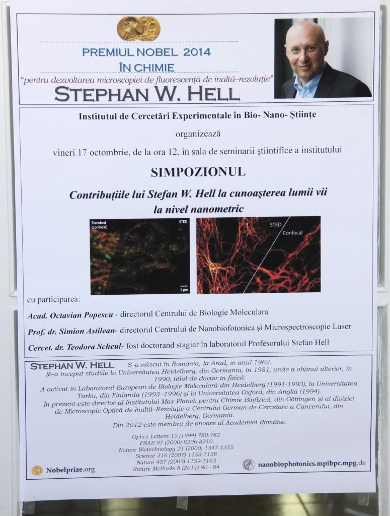 Contribuțiile lui Stephan W. Hell la cunoașterea lumii vii la nivel nanometric au fost evocate în cadrul Simpozionului organizat în cadrul Institutului de Cercetări Interdisciplinare în Bio-Nano-Științe care a avut loc luna aceasta.