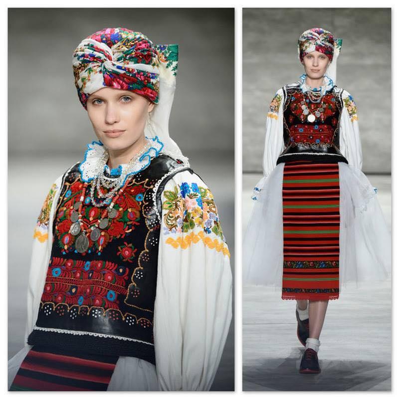 """Designerul Dorin Negrău și-a prezentat colecția """"Brides'S - the story continues"""" în cadrul Mercedes-Benz New York Fashion Week Fall 2015,   inspirată din portul tradiţional românesc din Transilvania."""
