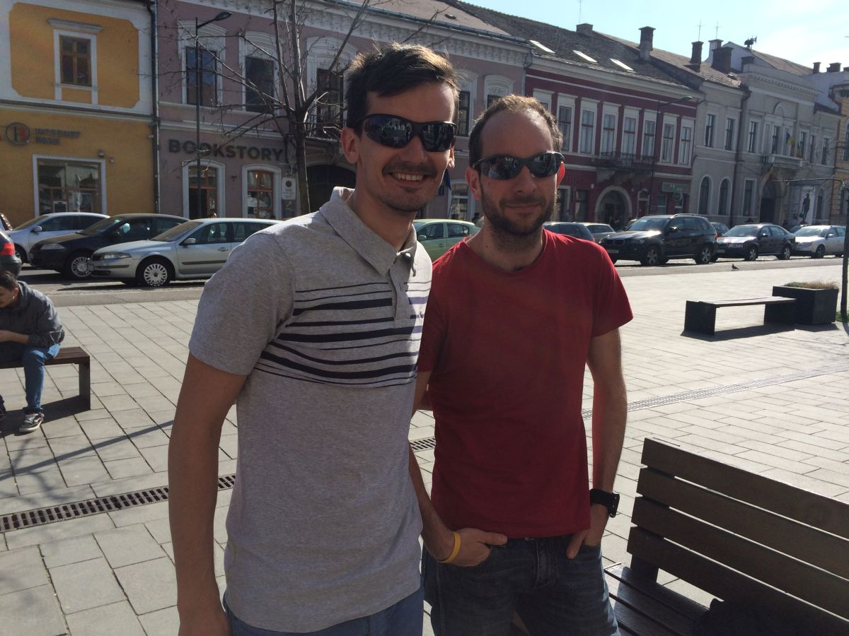 Cătălin Sânpetrean și Tudor Șofron,   în Cluj,   la câteva zile după maratonul de la Roma/Foto: Cristina Beligăr