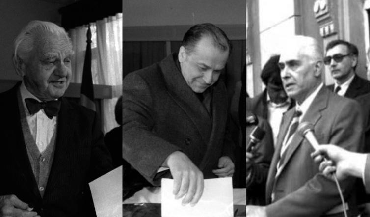 """Punctul 8 al proclamaţiei interzicea,   prin lege electorală,   dreptul de a candida la funcţii în stat tuturor foştilor activişti şi securişti,   timp de trei legislaturi. În special """"preşedintele României trebuie să fie unul dintre simbolurile despărţirii noastre de comunism"""". Dar Proclamaţia mai preciza că simpla calitate de membru de partid nu era nicidecum considerată o vină. Foto: Candidaţii la alegerile prezidenţiale din mai 1990 – Ion Iliescu,   Radu Câmpeanu (PNL) şi Ion Raţiu (PNŢCD)"""