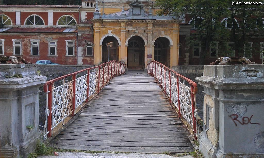 Podul în dantelărie de fier (aum ruginit) care duce spre clădirea centrală a Băilor Imperiale (în stare avansată de degradare).
