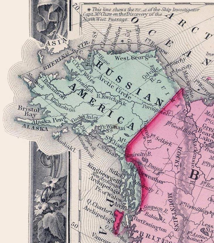 """Harta din 1860 a """"Americii Ruseşti"""""""