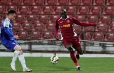 Gregory Tade a marcat golul victoriei CFR-ului în meciul cu Oțelul,   al doilea succes consecutiv pentru vișinii în retur / Foto: Dan Bodea