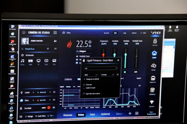 Pe același ecran pot fi controlate temperature,   udatul florilor,   intensitatea luminii sau muzica ambientală (FOTO: Dan Bodea)
