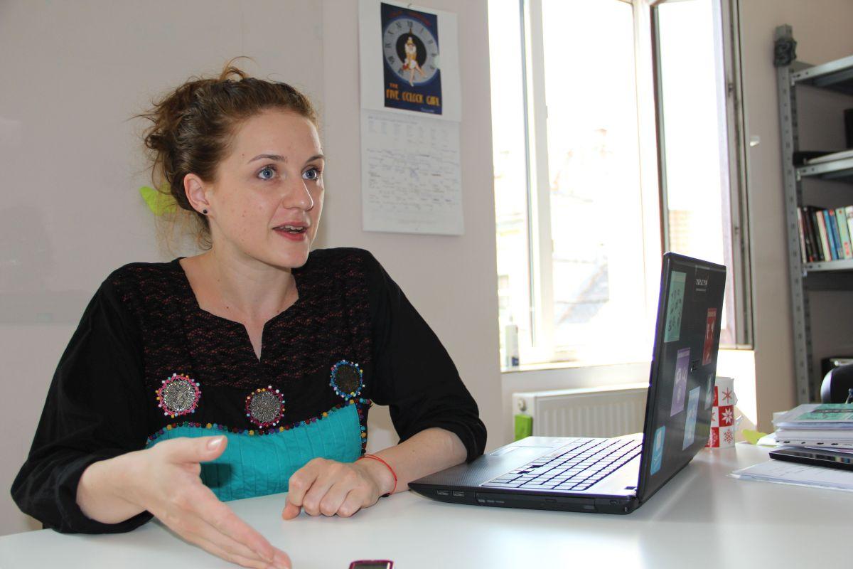 Diana Buluga,   la sediul companiei de teatru Create.Act.Enjoy/Foto: Dan Bodea