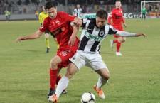 Andreas Calcan (foto,   la minge) a deschis scorul în victoria Universității Cluj (4-0) cu FC Zalău / Foto: Dan Bodesa