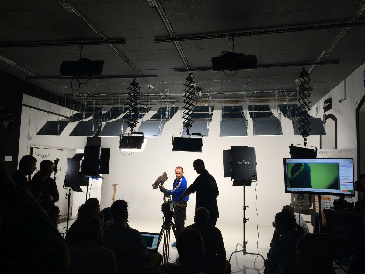 Într-un context deosebit,   la studioul lui Edi Schneider a fost prezentată în data de 22 septembrie noua serie Milvus (în latină,   pasăre răpitoare) de la Carl Zeiss. Păsările răpitoare ale lui Dorin Cărăbeț de la Asociația Peregrinus din Deva au luat parte la filmări/Foto: Cristina Beligăr
