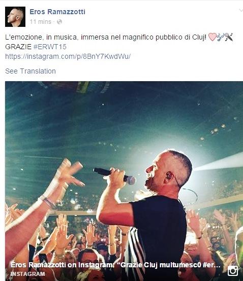 La câteva ore după concertul artistul a postat pe o rețea de socializare o fotografie din timpul concertului însoțită de un mesaj de mulțumire.