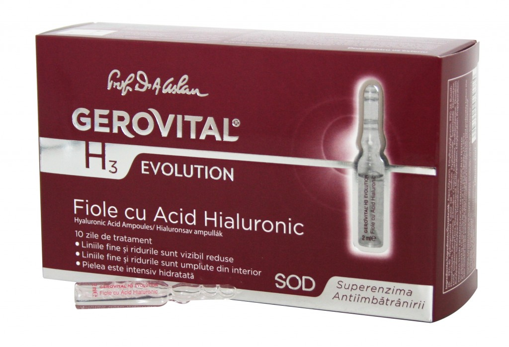 Gerovital H3 Evolution fiole cu acid hialuronic