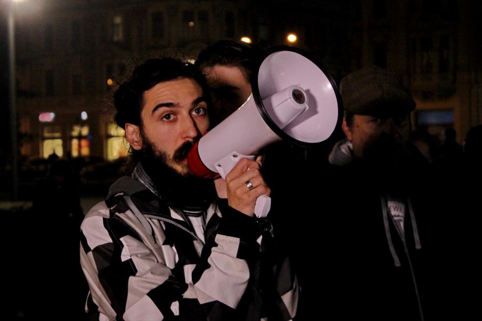 "Bogdan Budai, una dintre ""vocile"" protestatarilor din Piața Unirii din Cluj/Foto: Dan Bodea"