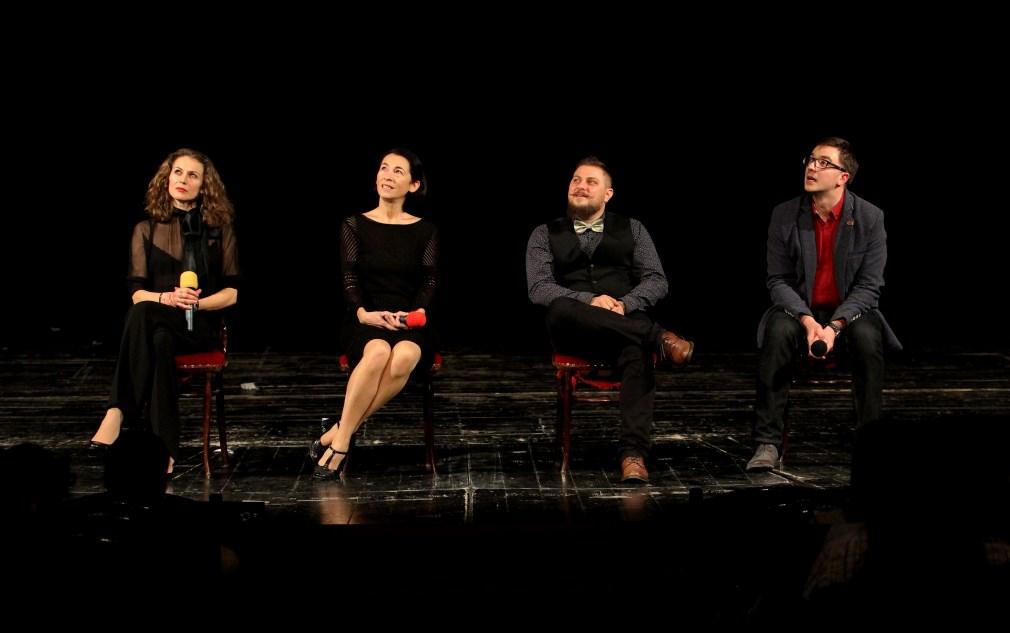 Actorii Angelica Nicoară, Irina Wintze, Radu Lărgeanu și Matei Rotaru/Foto: Dan Bodea