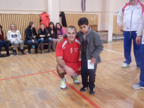 Sergiu Lăcătuș și Luca, jucătorul său preferat din cadrul echipei Poliției