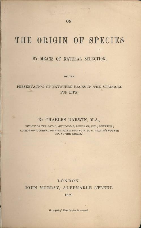 """Celebra lucrare """"Originea speciilor"""" a avut o lansare modestă,   în numai 1250 de exemplare,   pe 22 noiembrie 1859. Cu toate acestea,   a schimbat radical şi pentru totdeauna concepţia asupra vieţii şi a începuturilor acesteia pe Pământ. Titlul complet al cărţii sale este """"Originea speciilor prin selecţie naturală sau conservarea raselor favorizate în lupta pentru viaţă""""."""