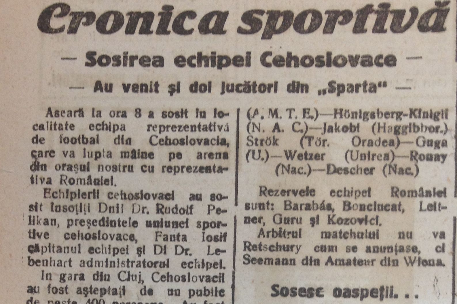 """Avavcronica meciului,   în ziarul clujean """"Înfrățirea"""" din 1 iulie"""