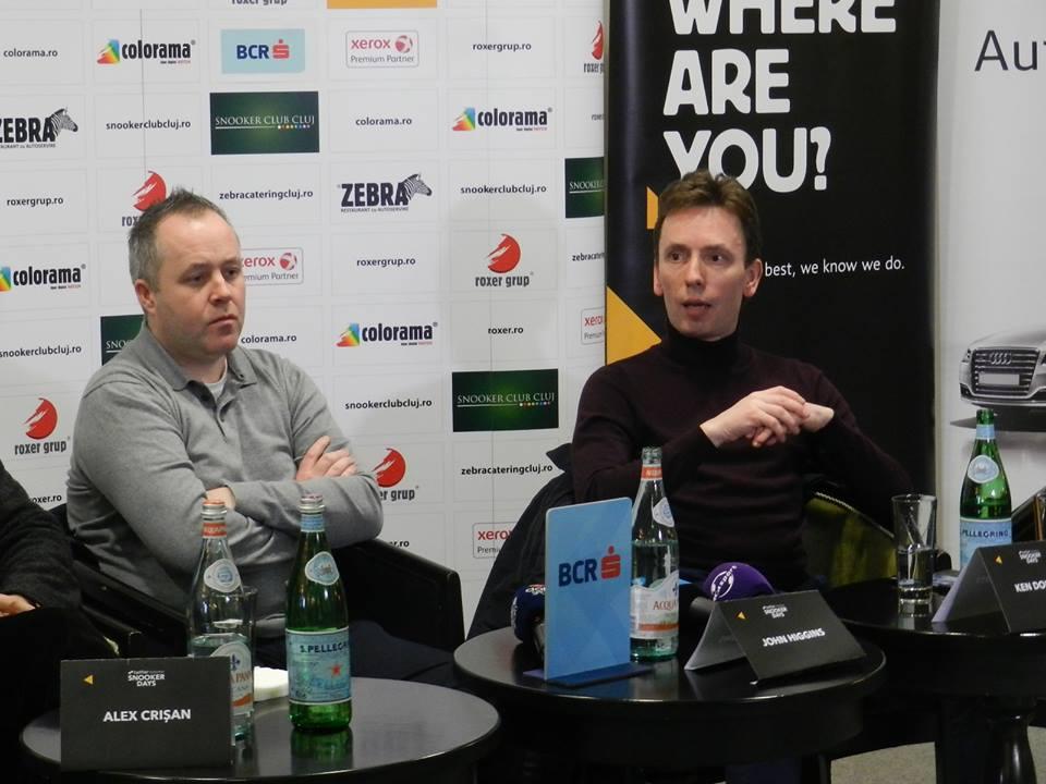 John Higgins (foto, în stânga imaginii) și Ken Doherty (foto, în drapta) vor disputa, vineri, 4 aprilie, de la ora 20.00, un meci demonstrativ la Cluj-Napoca