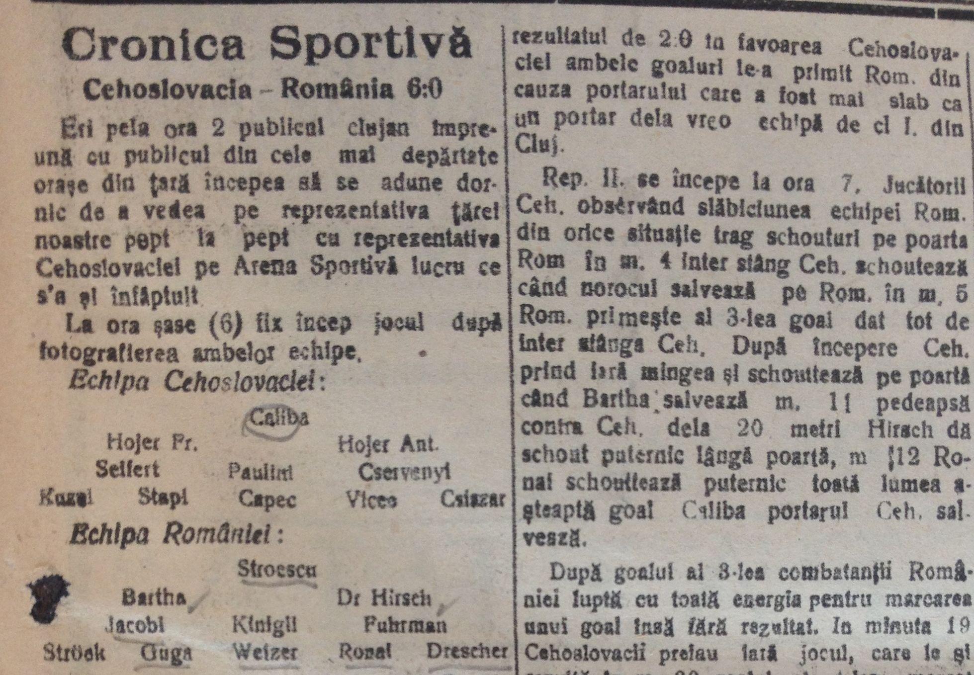 """Cronica partidei,   cu așezarea echipelor,   în """"Patria"""" din 3 iulie 1923"""