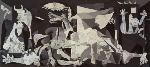 """""""Guernica"""" este,   probabil,   cea mai cunoscută creaţie a lui Picasso. Artistul a dorit să exprime,   prin ea,   oroarea faţă de bombardarea şi distrugerea capitalei baste Guernica,   în războiul civil spaniol."""