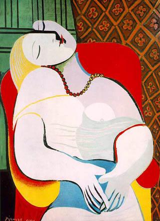 """Pentru """"Visul"""" (Le Rêve) din 1932,   model a fost tânăra Marie-Thérèse Walter. Picasso a înfăţişat-o mereu pe Marie în culori deschise,   blânde,   în opoziţie cu reprezentările Dorei Maar,   pe care o picta întunecată,   """"torturată""""."""