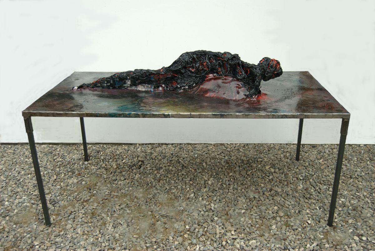Zsolt Berszan,   Untitled 06,  mixed media on metal sheet