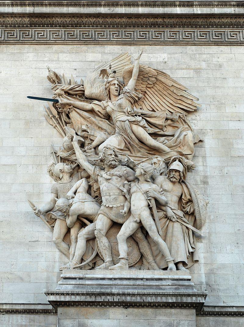 """La 14 iulie 1795, """"La Marseillaise"""" a devenit oficial imnul naţional al Franţei. Melodia a fost compusă (text iniţial şi muzică) de Rouget de Lisle, la Strasbourg, în noaptea de 25/26 aprilie 1792, după declararea războiului cu Austria. Titlul iniţial a fost """"Chant de guerre pour l'armée du Rhin"""" (""""Cântecul de război al armatei de pe Rin""""). Numele """"La Marseillaise"""" s-a popularizat după ce imnul a fost cântat pe 30 iulie 1792, de soldaţii republicani din Marsilia la intrarea lor în Paris. Foto: La Marseillaise, altorelief de pe Arcul de Triumf din Paris, de François Rude"""
