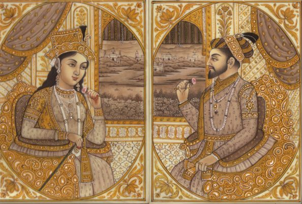Shah Jahal şi Mumtaz Mahal,   înfăţişaţi de artiştii vremii
