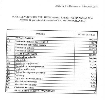 Acesta este bugetul pe 2016 al asociaţiei Eco metropolitan
