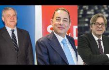 De la stânga la dreapta: Antonio Tajani (PPE),   Gianni Pitelli (S&D) și Guy Verhofstadt (ALDE)