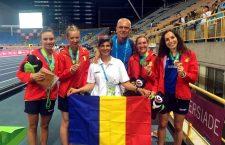 Camelia Gal, Bianca Răzor, Ana Ille, Vasile Bogdan, Sanda Belgyan, Anamaria Nesteriuc (în această ordine, de la stânga la dreapta), într-o fotografie istorică pentru atletismul clujean