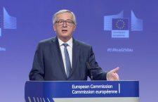 În spatele lui Jean-Claude Juncker se poate observa hashtagul #EURoas2Sibiu | Captură video EBS