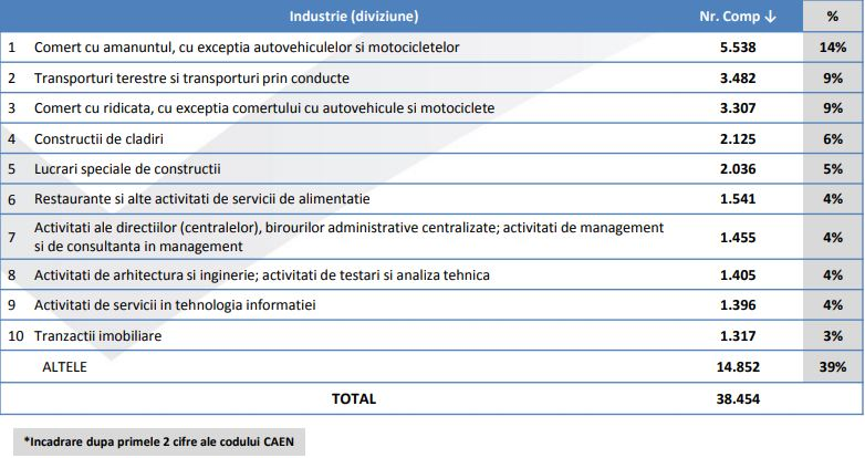 Distributia companiilor in functie de Industrie