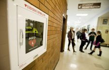 Evergreen High School has installed 2 AED emergency defibrillators in the hallways of the school, shown, Monday, March 12, 2012.(Steven Lane/The Columbian)