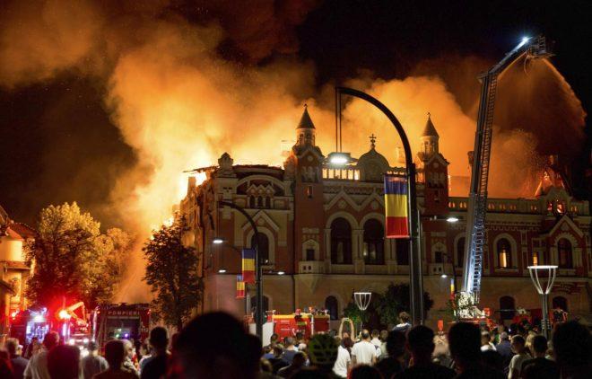 incendiu palatul episcopiei greco catolice din Oradea