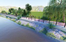 Simulare computerizată: malurile Cibinului după reamenajarea pentru pietoni și bicicliști | Foto: Primăria Sibiu