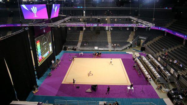 Sala Polivalentă din Cluj este pregătită pentru cea mai importantă competiție de gimnastică ritmică organizată vreodată în România / foto: Dan Bodea