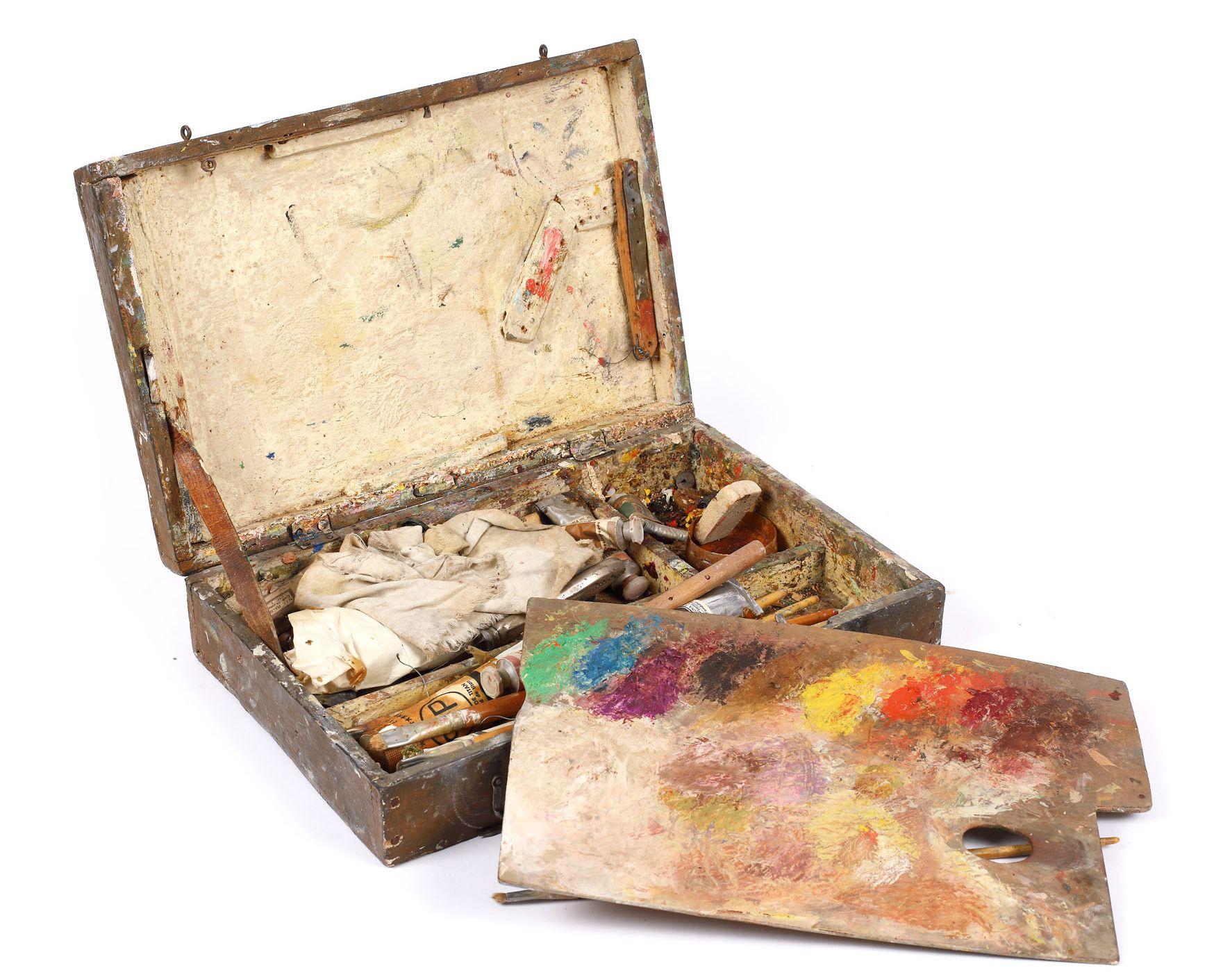 Paleta de culori folosite de Doina Cornea (primită în dar în copilărie de la tatăl ei)