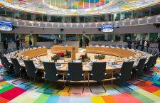 Sala de întrunire uzuală a Consiliului European. De la începutul lui martie, summiturile au loc prin videoconferință
