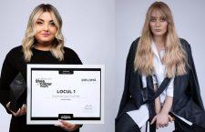 Laura Filaton (stânga) și coafura realizată în cadrul concursului L'Oréal Professionnel Style & Colour Trophy (dreapta)