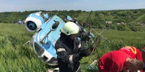 VIDEO| Elicopter pentru activități agricole, prăbușit lângă Turda