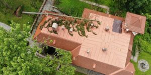 """IMAGINI DRONĂ Copac căzut peste Casa Memorială """"Octavian Goga"""" din Ciucea"""